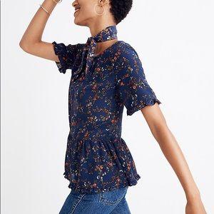 Madewell Silk Ruffle Hem Top in Moonless Floral